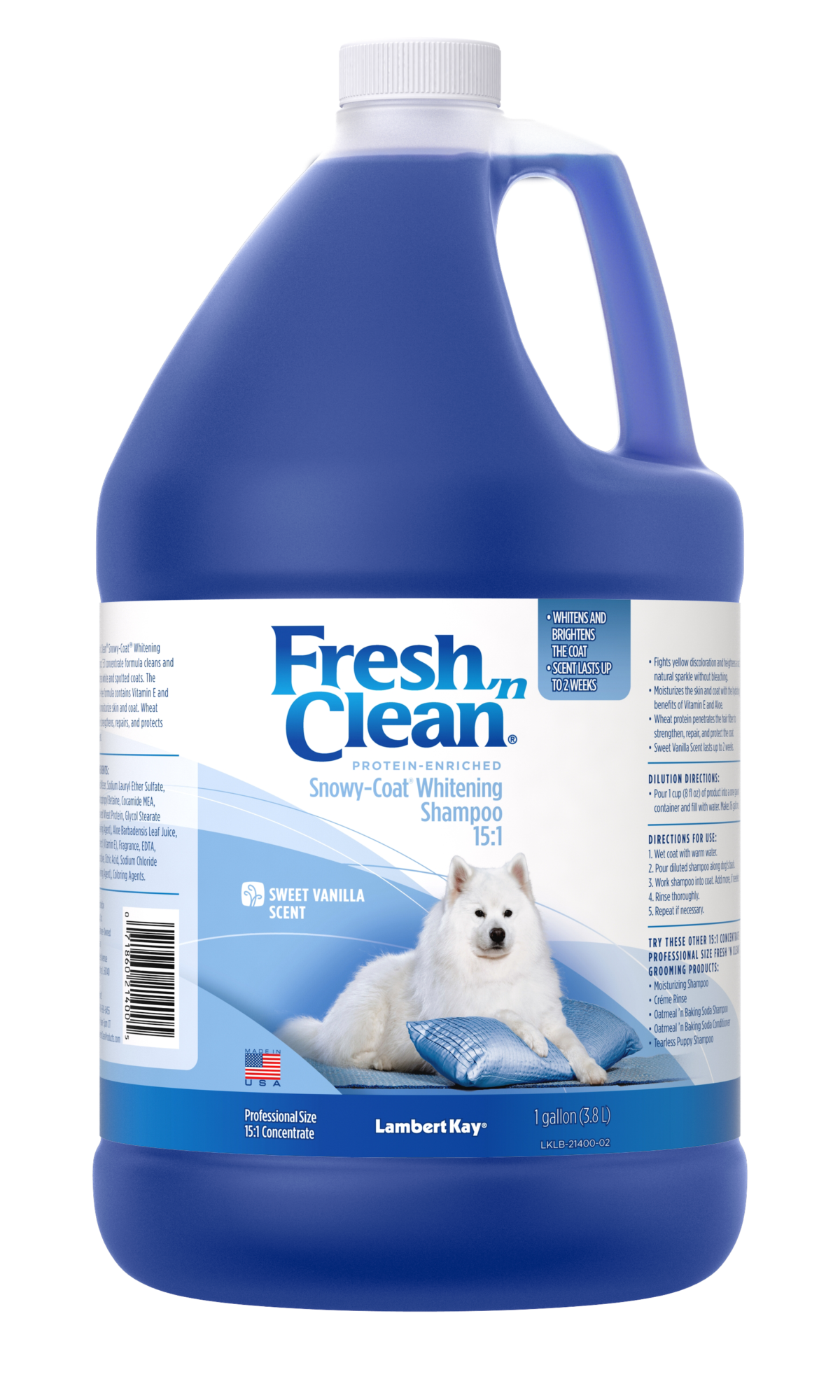 Fresh N Clean Snowy Coat Whitening Shampoo Vanilla Scent 15 1 Concentrate Petag En Us